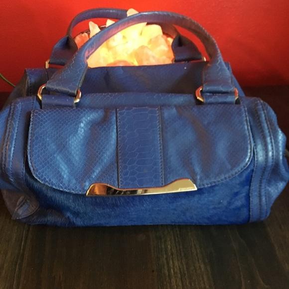 b. makowsky Bags   Bmakowsky Purse Blue Embossed Snake Skin Fur ... 4d8ccb01e8